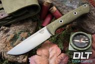 Bravo 1 Elmax LT Green Linen Micarta - Rampless - Hollow Pins