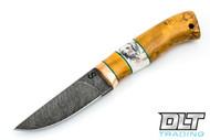 Olamic Cutlery Compact Scrimshaw Hunter - Karelian Birch Burl - Stag Spacer - #2