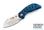 Olamic Cutlery Busker Largo - Satin Blade - Gold Hardware - 5 Hole Blue Seabed Handle