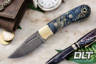 Essential Damascus - Bolster - Blue & Gold Elder Burl - Mosaic Pins