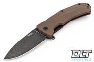 LionSteel KUR - Black Stonewash Blade - Brown G-10