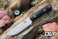 Bravo Necker II CPM-154 Black Linen Micarta - Blue Liners - Hollow Pins