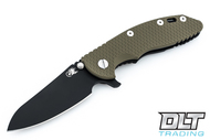"Hinderer 3.5"" XM-18 Sheepsfoot - Black DLC - OD Green G-10"