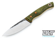 Fiddleback Forge Old School Ladyfinger - Evergreen Burlap Micarta - Natural & Yellow Liners