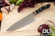 "8"" Chef's Knife CPM-154 Black & Gold Elder Burl - Mosaic Pins"