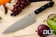 "8"" Chef's Knife CPM-154 Black Canvas Micarta - Blue Liners"