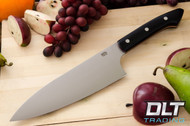"8"" Chef's Knife CPM-154 Black Canvas Micarta - Red Liners"