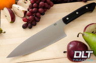 "8"" Chef's Knife CPM-154 Black Linen Micarta - Mosaic Pins"