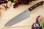 "8"" Chef's Knife CPM-154 Coffeebag Burlap Micarta - Blue & Red Liners"