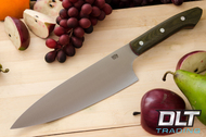 "8"" Chef's Knife CPM-154 Green Canvas Micarta - Red Liners"