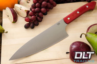 "8"" Chef's Knife CPM-154 Red Linen Micarta"