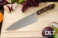 "8"" Chef's Knife CPM-154 Dark Curly Maple - Red Liners - Brass Hardware - #2"