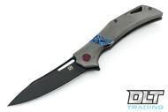 Olamic Cutlery Swish - PVD Blade - Purple Hardware - Black Timascus Inlay - Dark Blasted Handle