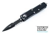Microtech 232-2 UTX-85 D/E - Black Handle - Contoured - Black Blade - Partial Serrations