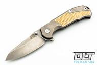 Hinderer MP-1 - Stonewashed Titanium - Textured Brass Inlay