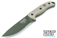 ESEE 5S - Partially Serrated - Kydex Sheath - Olive Drab Blade