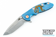 """Hinderer 3"""" XM-18 Spanto - Blue Anodized - Copper Hardware - Textured Blue & Bronze Horse Engraved Scale"""