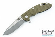 """Hinderer 3.5"""" XM-18 Spear Point - Working Finish & Satin Two Tone - OD Green G-10"""