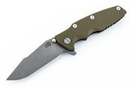 Hinderer Eklipse Harpoon Spanto - Working Finish Blade - Battle Bronze - OD Green G-10