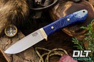 Classic Drop Point Hunter A2 - Brass Hardware - Arctic Lizard Skin - Blue Liners