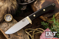 Classic Drop Point Hunter A2 - Brass Hardware - Black Canvas Micarta - Red Liners