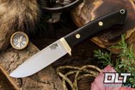 Classic Drop Point Hunter A2 - Brass Hardware - Black Linen Micarta - Red Liners