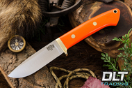 Classic Drop Point Hunter A2 - Brass Hardware - Blaze Orange G-10 - Black Liners
