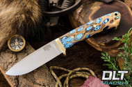 Classic Drop Point Hunter A2 - Brass Hardware - Cholla Cactus with Turquoise