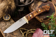 Classic Drop Point Hunter A2 - Brass Hardware - Dark Curly Maple - Red Liners - #2