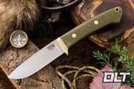 Classic Drop Point Hunter A2 - Brass Hardware - Green Linen Micarta