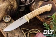 Classic Drop Point Hunter A2 - Brass Hardware - Natural Elder Burl - #1