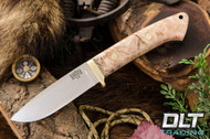 Classic Drop Point Hunter A2 - Brass Hardware - Natural Maple Burl - White Liners