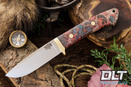 Classic Drop Point Hunter A2 - Brass Hardware - Red, Blue & Natural Maple Burl
