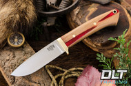Classic Drop Point Hunter A2 - Brass Hardware - Red Texas Fencepost