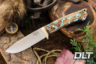 Classic Drop Point Hunter A2 - Brass Hardware - Gunmetal Cholla Cactus with Turquoise
