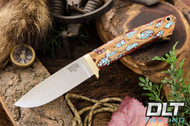 Classic Drop Point Hunter A2 - Brass Hardware - Red Cholla Cactus with Turquoise