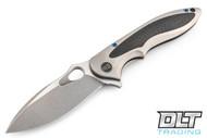We Knife 716F - Gray Titanium Handle - CF Inlay- Two Tone Blade