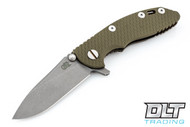 "Hinderer 3"" XM-18 No Choil Slicer M390 - Working Finish Blade - Battle Bronze - OD Green G-10"