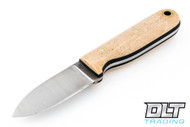LT Wright Bushbaby 3V - Flat Ground - Snakeskin Micarta - Thick Black Liners - Matte Finish