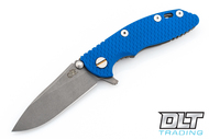 "Hinderer 3"" XM-18 No Choil Slicer M390 - Working Finish - Blue G-10"