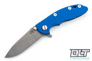 "Hinderer 3"" XM-18 No Choil Slicer M390 - Working Finish Blade - Battle Blue - Blue G-10"