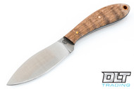 LT Wright Small Northern Hunter AEB-L - Convex Ground - Dark Curly Maple - Gray Liners - Copper Hardware - Matte Finish - #4