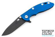 "Hinderer 3"" XM-18 No Choil Slicer M390 - Battle Black DLC - Blue G-10"