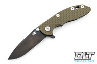 "Hinderer 3"" XM-18 No Choil Slicer M390 - Stonewashed Black DLC - OD Green G-10"