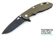 "Hinderer 3.5"" XM-18 No Choil Spanto M390 - Stonewashed Black DLC - OD Green G-10"