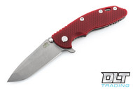 "Hinderer 3.5"" XM-18 No Choil Spanto M390 - Working Finish - Red G-10"