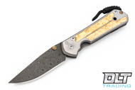 Chris Reeve Knives Large Sebenza 21 - Raindrop Damascus - Box Elder Inlay - #1