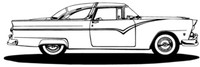 """55 Ford Hard Top BCC Classic Cars 12"""" Antique Stickers"""