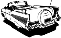"""1957 Chevy Conv. BCC Antique Car Decal, 12"""""""