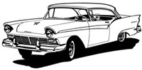 """1957 Ford Hard Top Decal #BBC Large12"""" Window Sticker"""